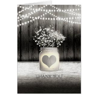 Carte Merci rustique de pot de maçon de coeur et de