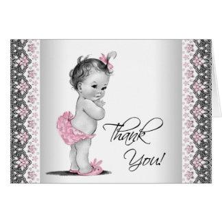 Carte Merci vintage gris rose de baby shower