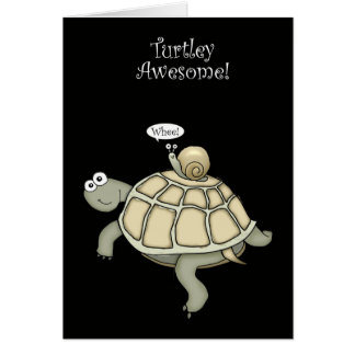 Carte mercis de tortue et d'escargot