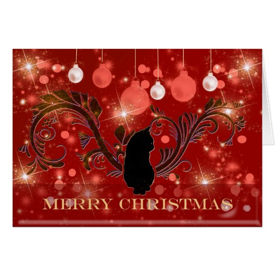 Carte Merry Christmas Sparkle Cat Greeting Card