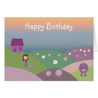 Carte mignonne d'anniversaire de enfant avec les