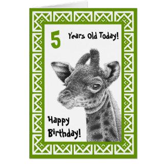 Carte mignonne d'anniversaire de enfant de girafe