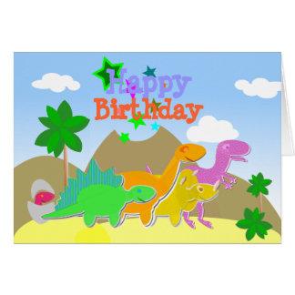 Carte mignonne de joyeux anniversaire de dinosaure