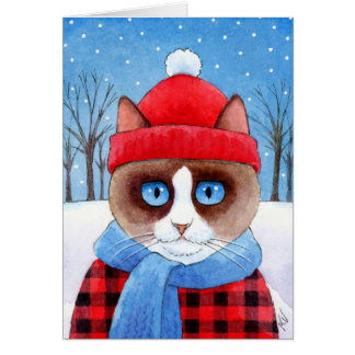 Carte mignonne d'hiver de Noël de chat de bûcheron