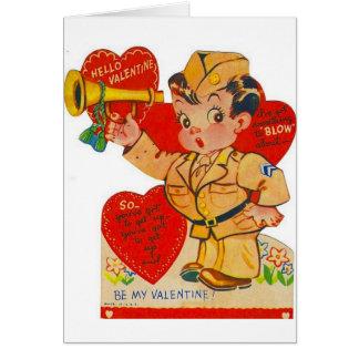 Carte militaire vintage de Saint-Valentin de