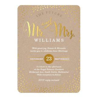 Carte Mini confettis papier d'emballage d'or de MARIAGE