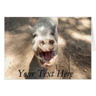 Carte Mini porc de sourire personnalisé