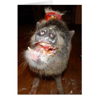 Carte Mini porc personnalisé de joyeux anniversaire