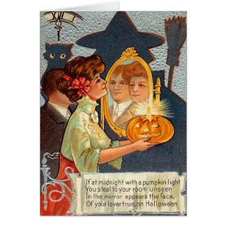 Carte Miroir vintage de magie de Halloween