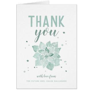 Carte Mme Merci de Succulents d'aquarelle future plié