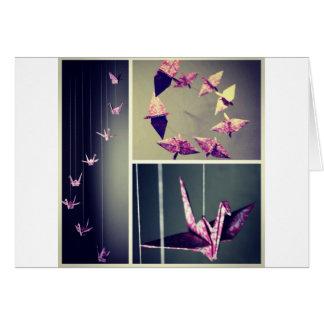 Carte Mobile rose de spirale de grue d'origami de