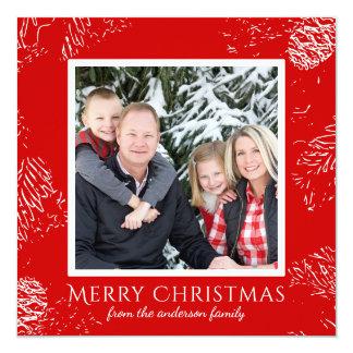 Carte Modèle photo scandinave de famille de Noël de pin