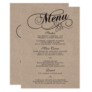 Carte Modèles élégants de menu de mariage de Papier