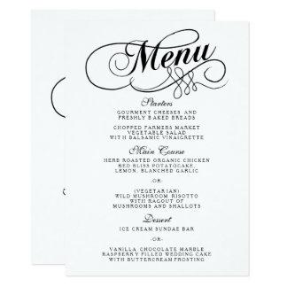 Carte Modèles noirs et blancs élégants de menu de