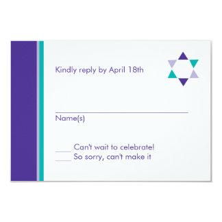 Carte moderne de réponse de bat mitzvah d'étoile carton d'invitation 8,89 cm x 12,70 cm