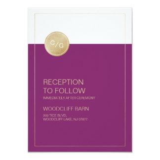 Carte moderne minimaliste de réception de mariage carton d'invitation  11,43 cm x 15,87 cm