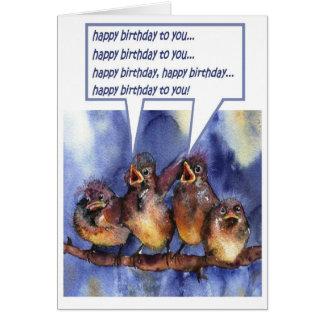 Carte moineaux vous souhaitant un joyeux anniversaire