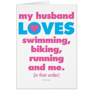 Carte Mon mari aime des triathlons (le texte seulement)