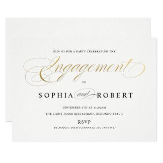 Carte Monogramme élégant de fiançailles de calligraphie