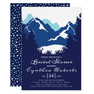 Carte Montagnes bleues et conifères épousant la douche