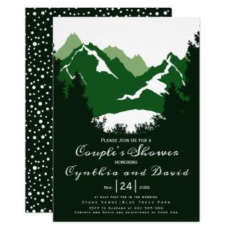 Carte Montagnes vertes, conifères épousant la douche de