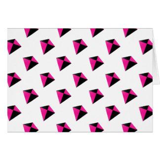 Carte Motif de cerf-volant de diamant rose et noir