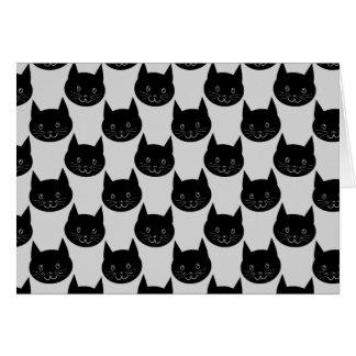 Carte Motif de chat noir sur gris-clair.