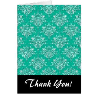 Carte Motif de damassé dans vert turquoise de menthe et