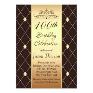 Carte Motif de diamant d'or sur fête d'anniversaire de