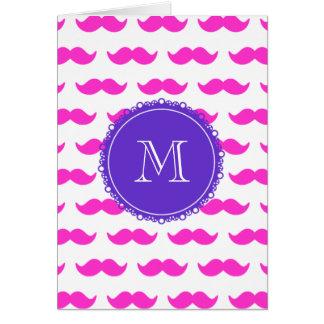 Carte Motif de moustache de roses indien, monogramme