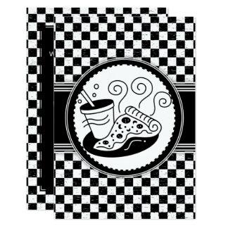 Carte Motif Noir-Blanc de Pizza-Partie Checkered