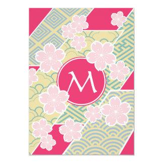 Carte Motifs géométriques de fleurs de cerisier de