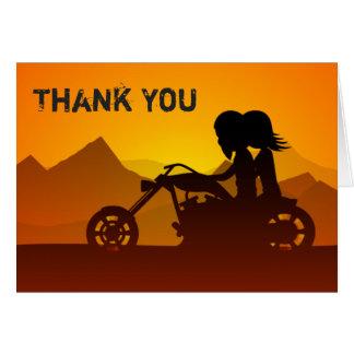 Carte Moto d'équitation de couples avec le Merci de
