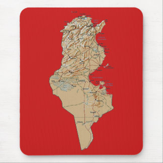 Carte Mousepad de la Tunisie Tapis De Souris