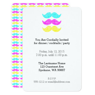 Carte Moustaches colorées (impression typographique CMY)