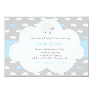 Carte Moutons avec l'invitation de nuage (bleu gris)