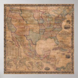 Carte murale 1856 de Mitchell Etats-Unis