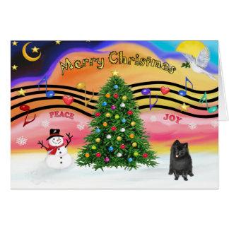 Carte Musique 2 de Christmast - Pomeranian (noir)