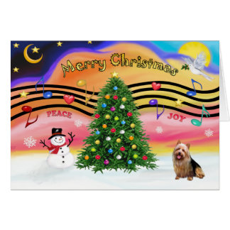 Carte Musique 2 de Noël - Terrier australien