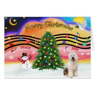 Carte Musique 2 de Noël - vieux chien de berger anglais