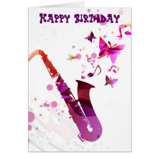Carte Musique de saxophone et anniversaire mignons de