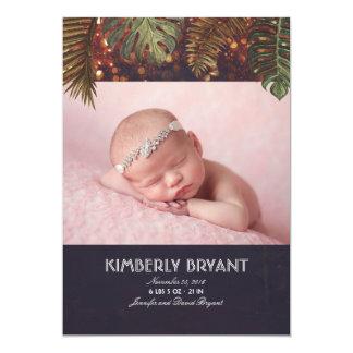 Carte Naissance de bébé de photo de plage de paumes et