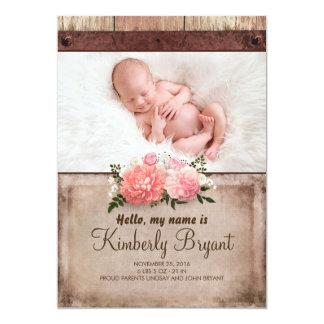 Carte Naissance rustique de photo de bébé de toile de