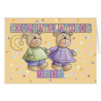 Carte Nana au nouveau bébé jumelle des félicitations