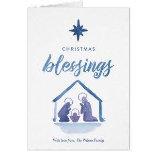 Carte Nativité de bénédictions de Noël d'aquarelle pliée