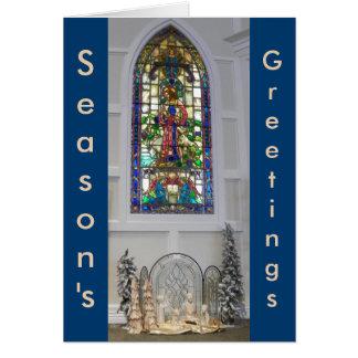 Carte Nativité vintage de fenêtre en verre teinté et de