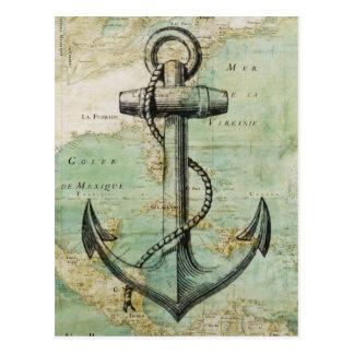 Carte nautique antique avec l'ancre