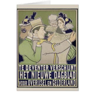 Carte néerlandaise vintage d'annonce de journal