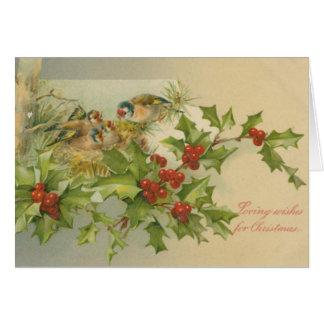 Carte Nid vintage d'oiseaux de Noël