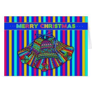 Carte Noël Bells - type motif de mosaïque - couleur vive